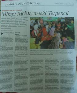Membaca (Mimpi Mekar, Meski Terpencil) Komunitas Ngejah dalam rubrik pendidikan Kompas