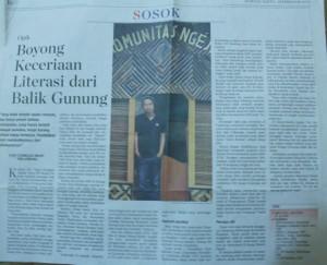 Opik, Pendiri Komunitas Ngejah (Komunitas Literasi di Garut) pada rubrik sosok Kompas