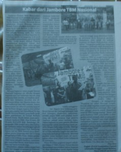 Taman Bacaan Mayarakat aiueo Komunitas Ngejah pada ajang Jambore TBM Nasional dimuat pada HU Kabar Priangan